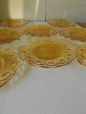 Vintage Antique Collectable Retro Pressed Amber Glass Plate or Saucer x 8