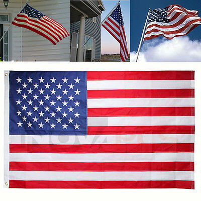 3'x5' FT American Flag USA US U.S. Sewn Stripes Embroidered Stars Brass Grommets