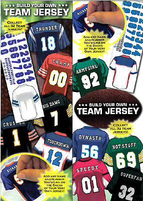 """2 NFL FOOTBALL BUILD YOUR TEAM JERSEY STICKERS 3""""x3.5"""" ADD YOUR NAME & NUMBER!"""