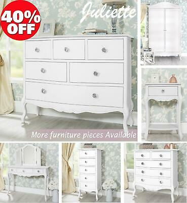 Shabby Chic Furniture with crystal handles.Quality white bedroom FULLY ASSEMBLED