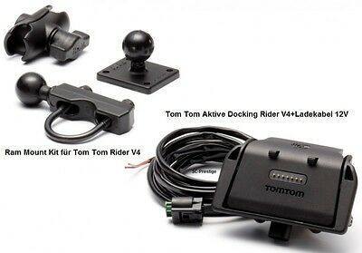 Tomtom/tom Tom Rider V4 2013 Active Docking Shoe+Ram Mount Kit+Ladekabel 12Volt