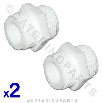 "2 x 3/4"" BSP STRAIGHT WHITE NYLON CONNECTORS JOINS WASHING MACHINE HOSE TOGETHER"