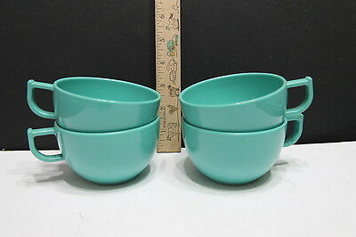 Trumpet Ware USA Turquoise Coffee Cups  Meamine Mid-century (4) pc Retro VTG