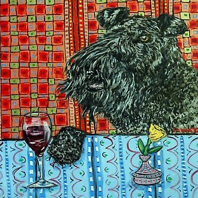 KERRY blue terrier dog art tile COASTER gift JSCHMETZ modern folk art wine