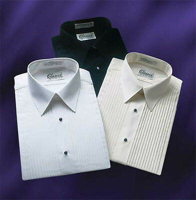 Classic Laydown Collar Tuxedo Shirt With 1/4 Inch Pleats