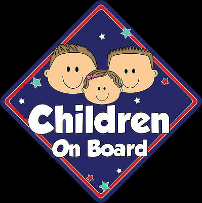 3 Children Baby on Board Car Window Sign Non Personalised New DKBL