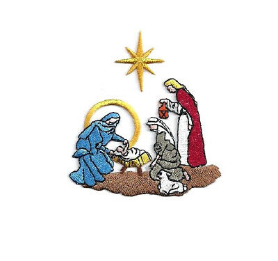 CHRISTMAS NATIVITY W/STAR EMBROIDERED IRON ON APPLIQUE PATCH