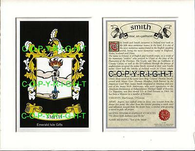 SMITH Family Heraldic Mount Coat of Arms Crest and Name History