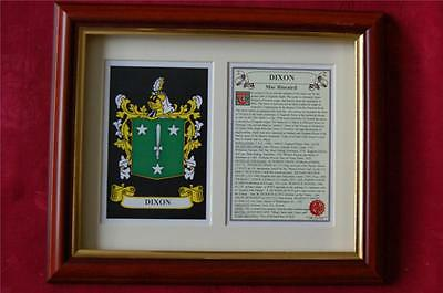 DIXON Family FRAMED Heraldic Coat of Arms Crest + History