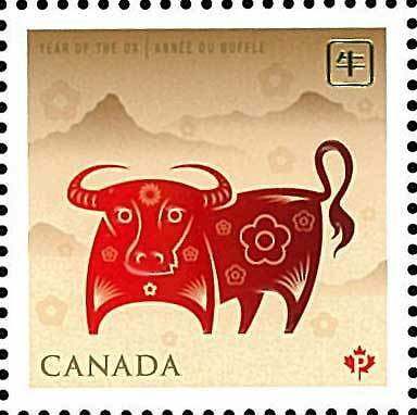 Canada Stamp, 2009 Year of the Ox Stamp, Zodiac