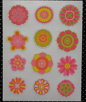 Flowers,Bright Cupcake Stickers,Edible Rice Paper Prints,DecoPac, Multi-Color