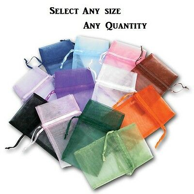 LOT OF 12~84~144 Pcs ORGANZA POUCHES JEWELRY POUCH WHOLESALE DRAWSTRING GIFT BAG