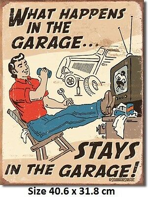 What Happens In The Garage Stays In The Garage Tin Sign Licensed