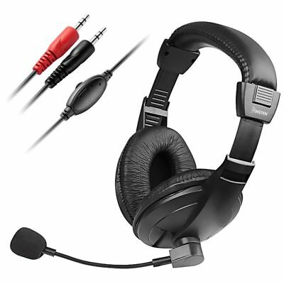Black Handsfree Stereo Headset With Microphone For PC Computer VOIP SKYPE