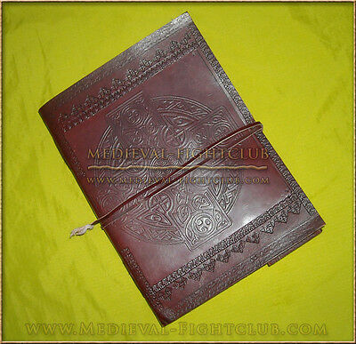 Handmade cotton paper Leather journal -  Celtic cross pattern Large