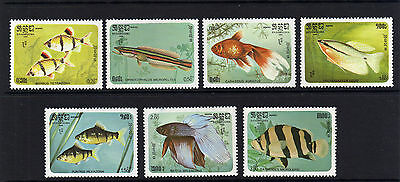 Kampuchea 1985 Fishes Sg 673-679 Mnh.