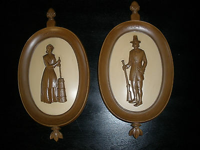 Vintage Syroco Homco Home Interiors Colonial Pilgrams Oval Wall Plaques