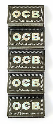 5 booklets x OCB Premium Black DOUBLE Rolling paper - 500 papers - FREE SHIPPING