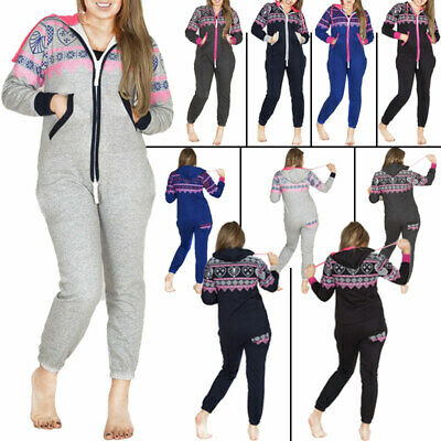Womens Heart Aztec Print Fleece Nightwear Pyjama All In One Ladies Jumpsuit L XL