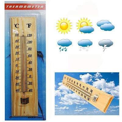 Wooden Thermometer Wall Hanging Outdoors Garden Temperature Measure Wall Mounted