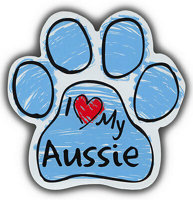 Scribble Paw Dog Magnets: I LOVE MY AUSSIE AUSTRALIAN SHEPHERD | For Cars, More