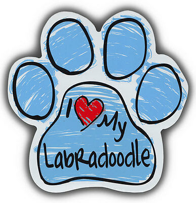 Scribble Paw Dog Magnets: I LOVE MY LABRADOODLE | Cars, Trucks, Refrigerators