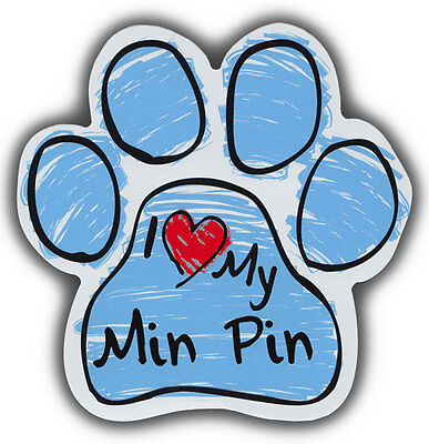Scribble Paw Dog Magnets: I LOVE MY MIN PIN | Cars, Trucks, Refrigerators