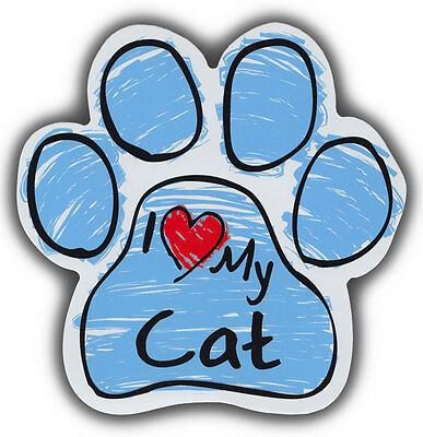 Scribble Paw Cat Magnets: I LOVE MY CAT | Cars, Trucks, Refrigerators
