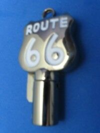 Route 66 Round Barrel Key Blank For Harley Davidson Black Nickel W White #1012