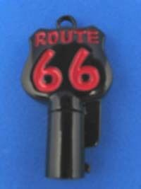 Route 66 Round Barrel Key Blank For Harley Davidson Black Chrome With Red #1011A