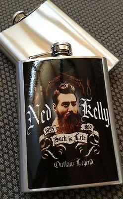 Clearance Ned Kelly Stainless Steel 8oz Such Is Life Hip Flask Gift ✔️✔️