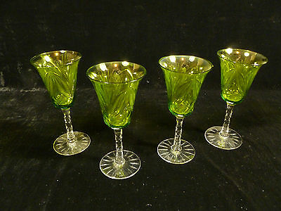 BEAUTIFUL SET OF FOUR OLIVE GREEN LEAF PATTERN CUT CRYSTAL WINE STEM GLASSES