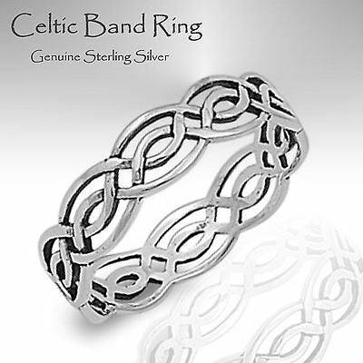 Celtic Band Ring - Genuine Sterling Silver ( Unisex ) Sizes 3 - 14
