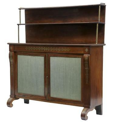 19Th Century Regency Rosewood Brass Inlaid Chiffonier Cabinet