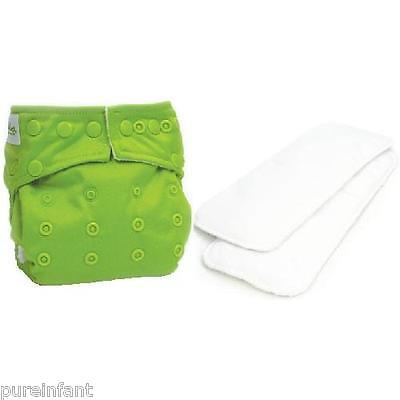 Bumkins One-Size Stuff-it Cloth Diaper with 2 Minky Inserts - Solid Green