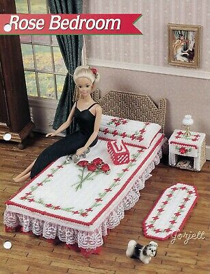 Rose Bedroom ~ fits Barbie dolls, Annie's plastic canvas pattern leaflet