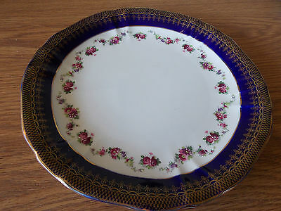 Vintage Antique Collectable Retro Wedgwood Plate Blue Gilt Flower Pattern