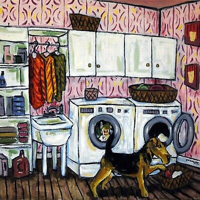 Airedale terrier in the laundry room dog art tile coaster gift artwork modern
