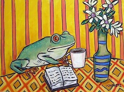 Frog at the cafe coffee shop signed art print artwork gift 8x10