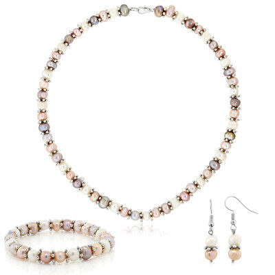 Pink & White Cultured Freshwater Pearl Necklace Earrings Bracelet Set 7-8MM 18""