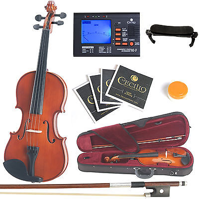 Mendini Solidwood Violin 4/4 Full Size +Tuner+Shdrest+ExtraStrings+Case~4/4MV200