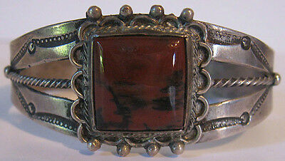 Vintage Navajo Indian Silver Red Petrified Wood Agate Cuff Bracelet