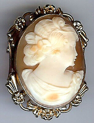 *van Dell Lovely Vintage Floral Gold Fill Carved Shell Pretty Lady Cameo Pin*