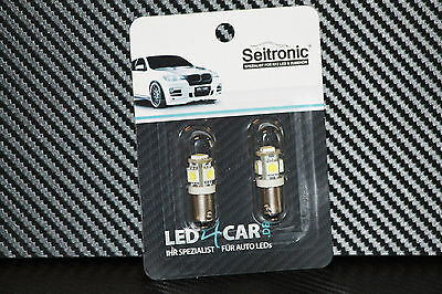 Seitronic® 5er SMD LED Standlicht, Sockel H6W BAX9S, CanBus, Xenon Weiss