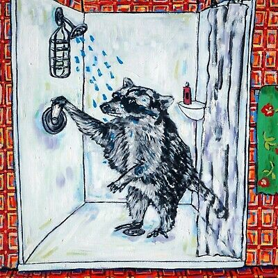 raccoon taking a bath bathroom art tile coaster gift artwork gifts