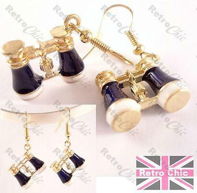 KITSCH VINTAGE BINOCULARS drop EARRINGS quirky GOLD PLT ENAMEL hide&seek