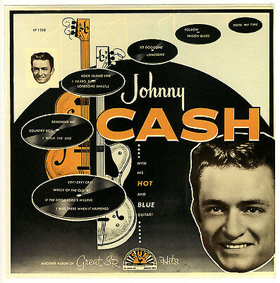 """""""WITH HIS HOT & BLUE GUITAR"""" ..Johnny Cash Classic Album Poster A1 A2 A3 A4Sizes"""