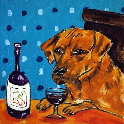 WINE print with rhodesian ridgeback dog art on ceramic kitchen TILE coaster