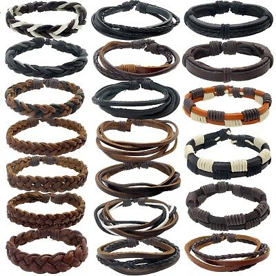 Mens Real Leather Braided Surf Surfer Bracelet Wristband Black Brown Wrap Styles