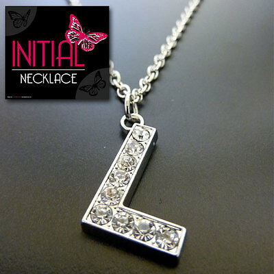 Initial Fashion Necklace Crystal Alphabet Personalised A - Z Choice of letter